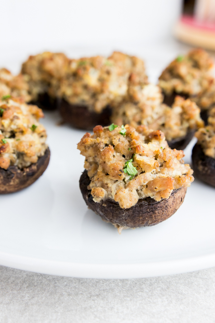 Sausge Stuffed Mushrooms close-up