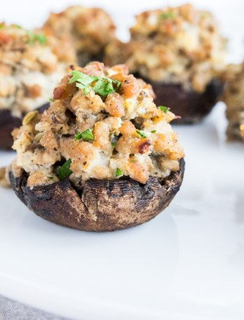 Paleo Sausage Stuffed Mushrooms on plate