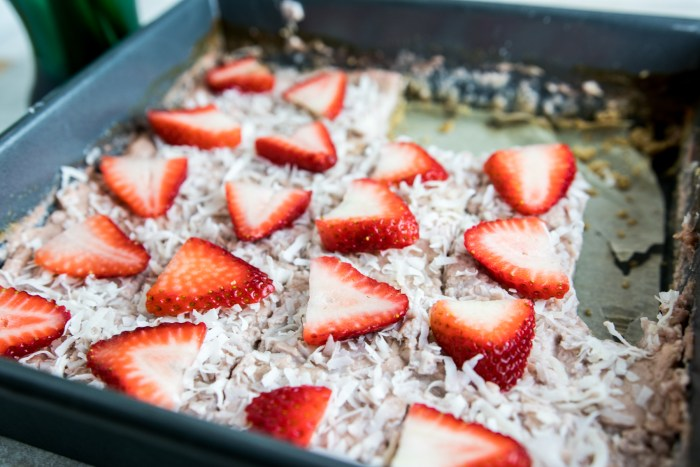 Pan of Paleo Strawberry Coconut Bars
