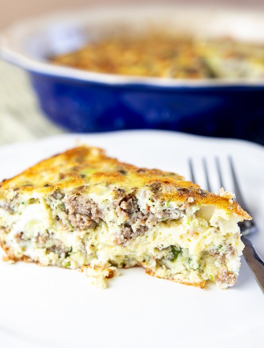 slice of whole 30 sausage zucchini basil crustless quiche