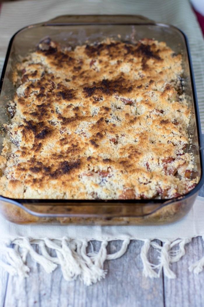 Chicken Bacon Mushroom Casserole in dish
