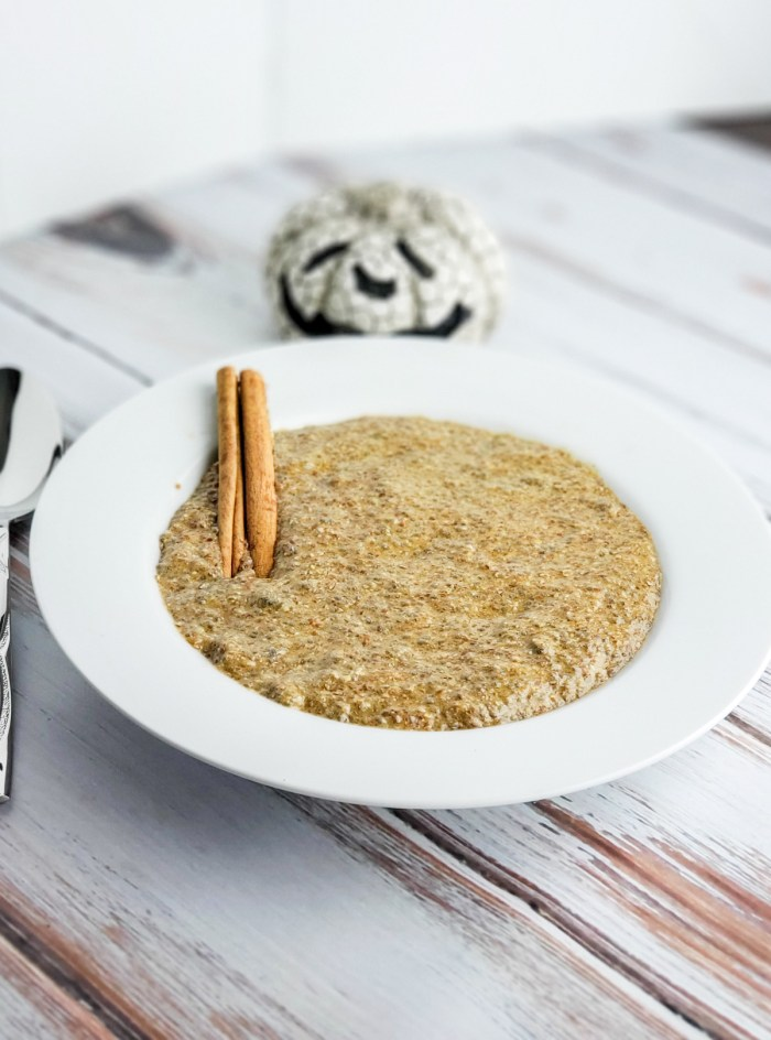 paleo pumpkin spice oatmeal from above