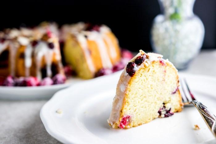 sliced cranberry orange bundt cake