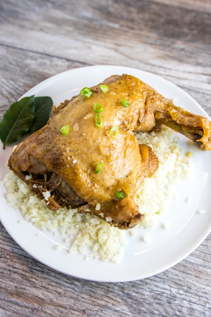 paleo instant pot adobo chicken from above