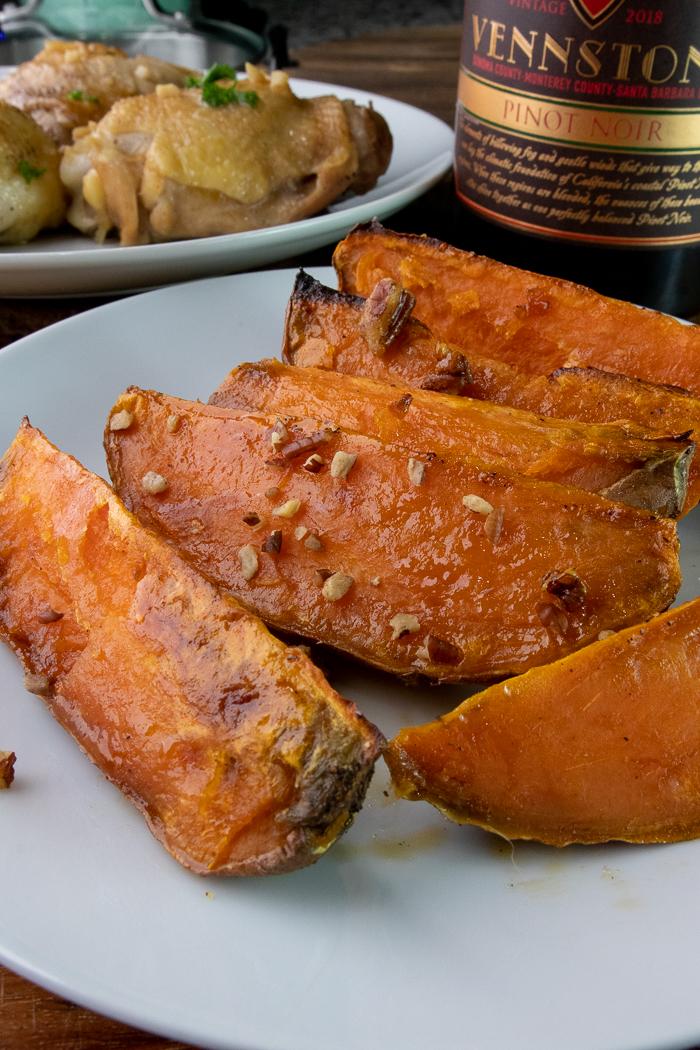 Maple Pecan Roasted Sweet potatoes on plate