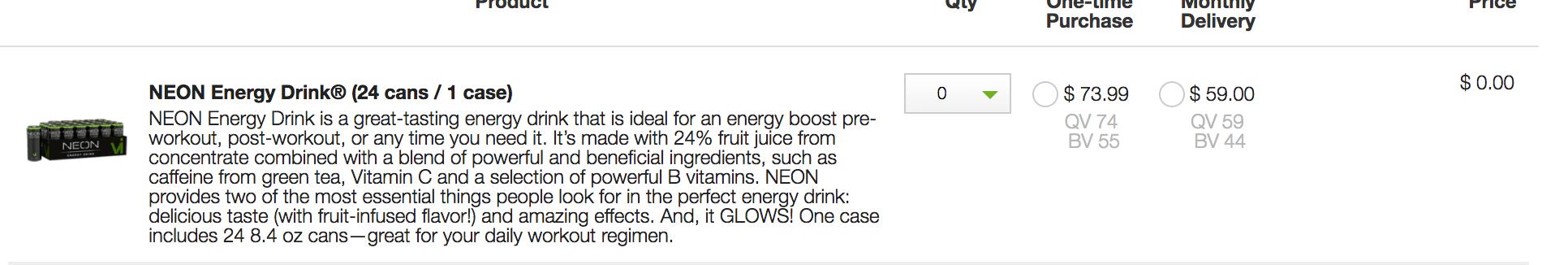 VI Neon Energy Drink Cost