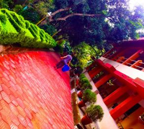 View of the dorms at the Shivananda ashram in Neyyar Dam, Kerala