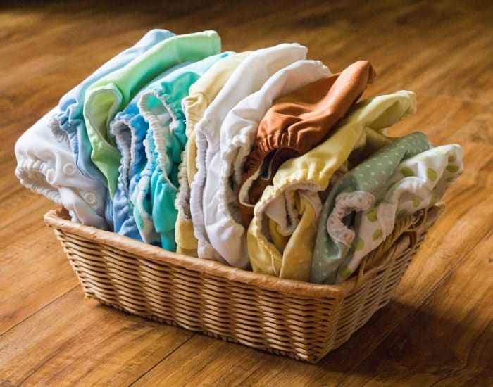 basket of cloth diapers