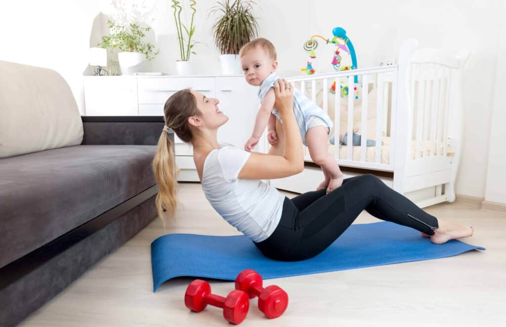 mom working out with baby