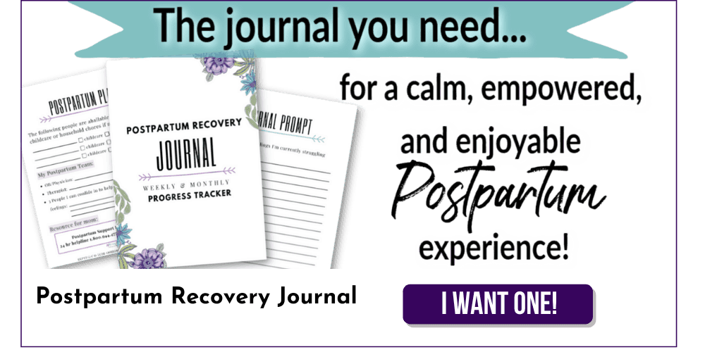 postpartum recovery journal banner
