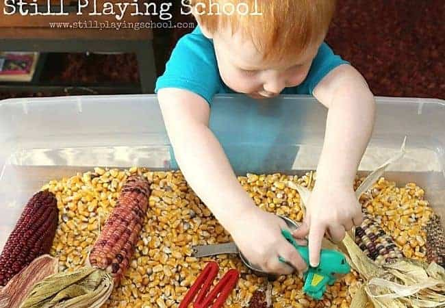 still playing school corn bin