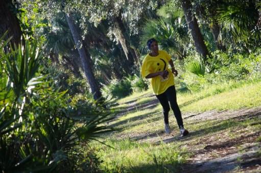 Man running in trails