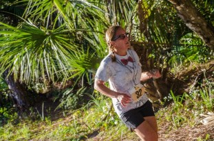 woman running on trails