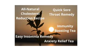 All-Natural Cholesterol Reduction Recipe, Quick Sore Throat Remedy, Immunity Boosting Tea, Anxiety Relief Tea, Easy Insomnia Remedy