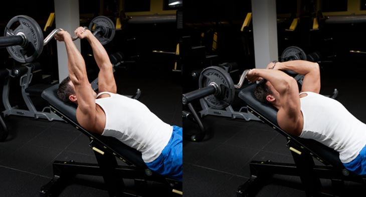 Man Working out on seated tricep press