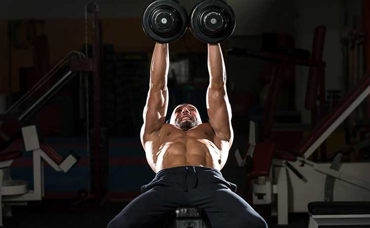 Man Working Out Chest Crush Press Exercise