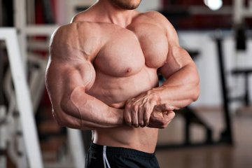 Man Showing Big Chest and Triceps