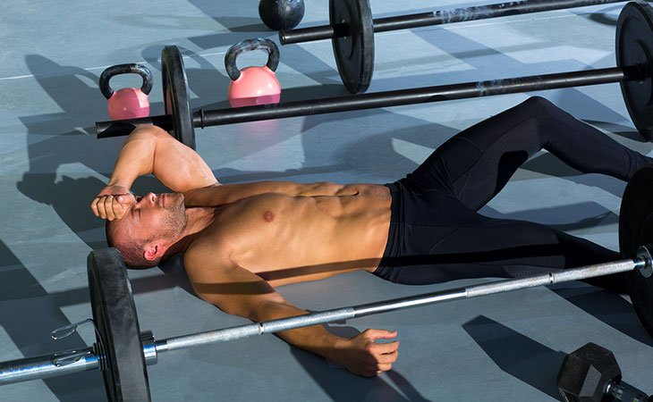 Man Tired Doing Exercise Building Abs Muscle