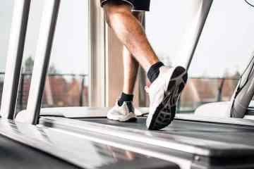 Man Using A Manual Treadmill