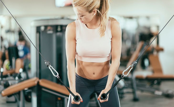 Woman Working Out In A Cable Weight Machine
