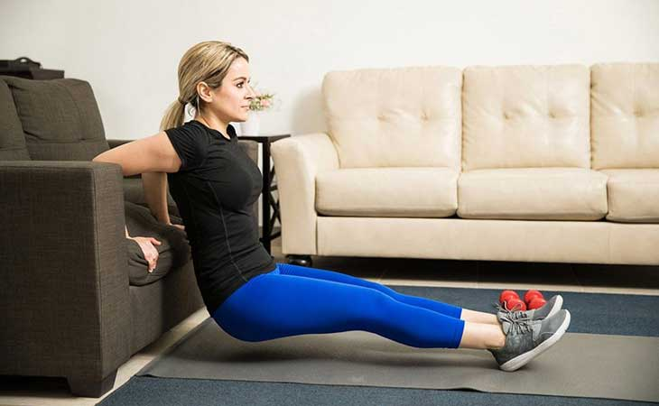 Woman Working Out Tricep Dips