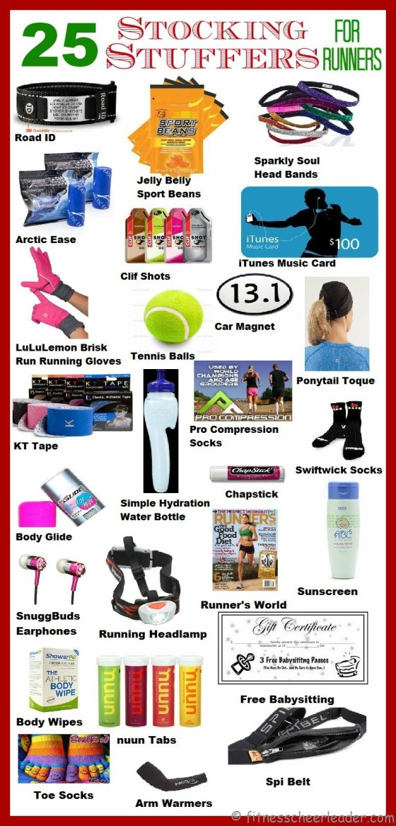So that Mrs Claus doesn't end up with yet another empty stocking... Here are 25 Stocking Stuffer Ideas for Runners http://fitnesscheerleader.com/products-gear/25-stocking-stuffer-ideas-for-runners/