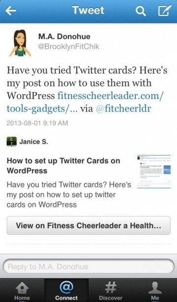 Mobile Screenshot of Twitter Card