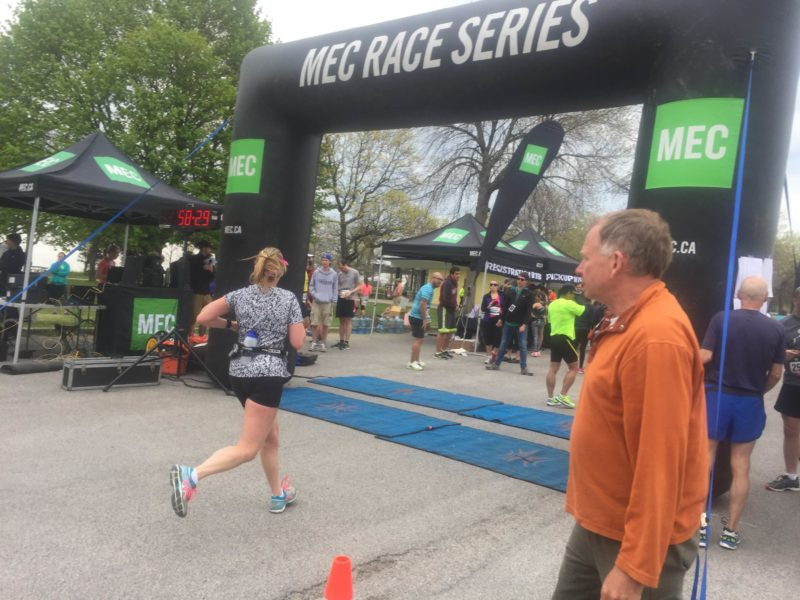 MEC Race Finish Line - this is a great $15, no frills type of race. No t-shirts, no goodie bag, and no medal - the race is just about running.