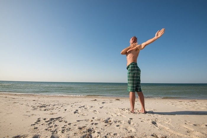 yoga standing spinal twist pose