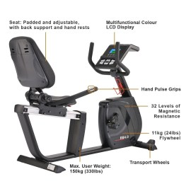 key features of a recumbent exercise bike