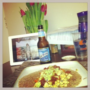 Celebrating our 1 Year First Date Anniversary with tempeh burritos, beer, and flowers!