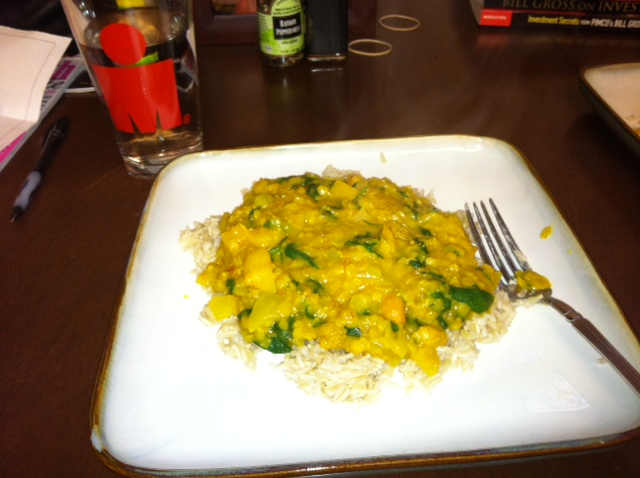Our favorite vegan meal - lentil spinach cashew curry. I always serve over brown rice and with broccoli (not pictured).