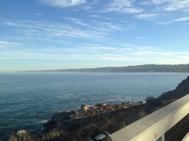 View of Encinitas (waaaay out there) from 1 mile into our run in La Jolla