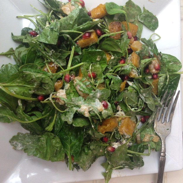 Goat Cheese, Pomegranate and Squash Salad