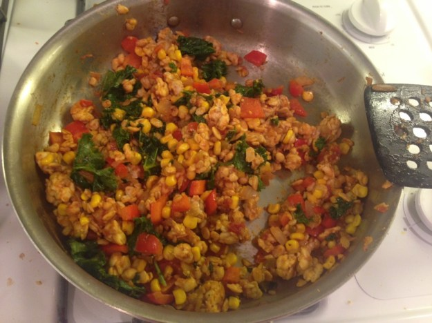 Tempeh veggie burrito fillings. Mix your favorite veggies with tempeh and mexican seasonings of choice