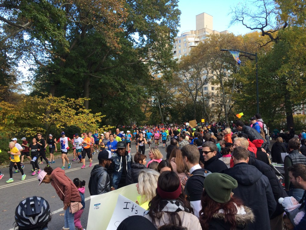Mike's view from his cheering spot in Central Park