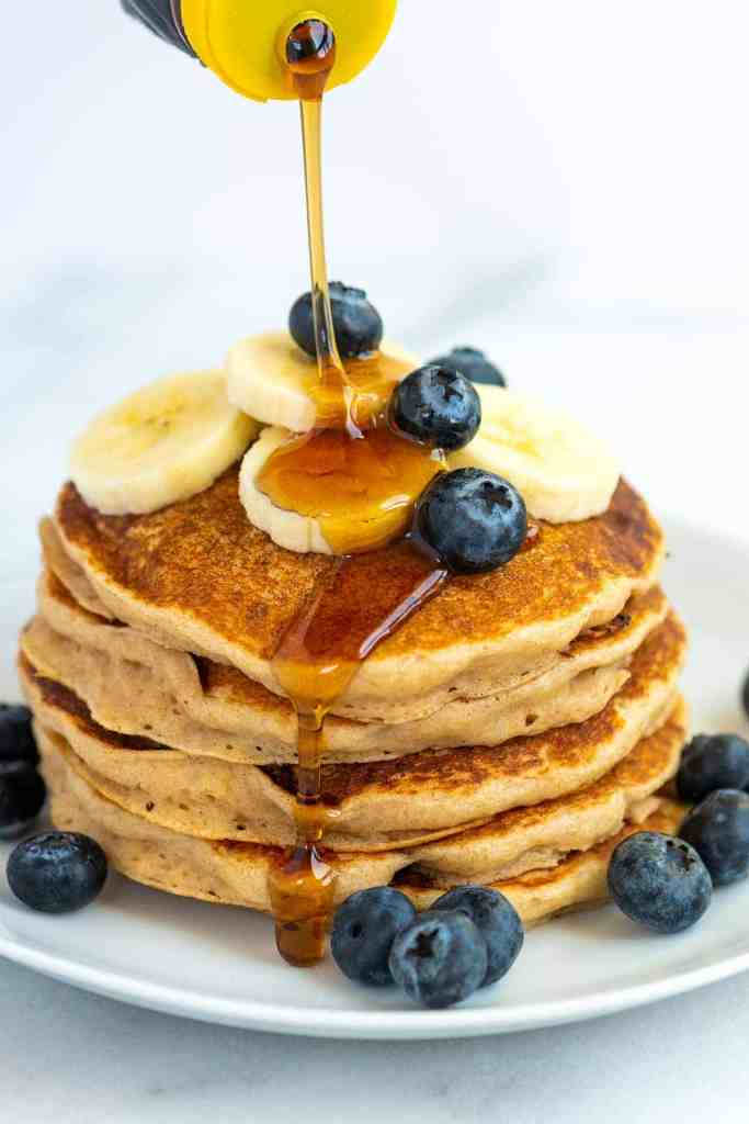 easy vegan pancakes on a plate