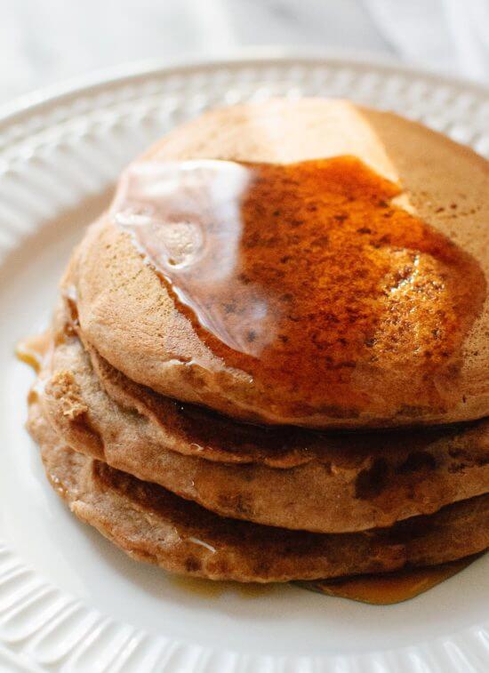 Simple vegan pancakes on a white plate