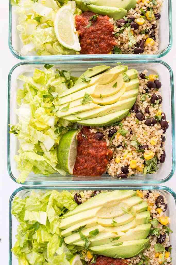 Vegetarian Quinoa Burrito Bowls Meal Prep on kitchen counter