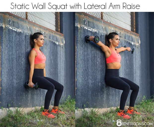 static wall squat with lateral arm press