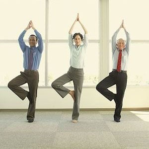 619-00964603 Model Release: Yes Property Release: Yes Asian businesspeople doing yoga, Redwood City, California, United States