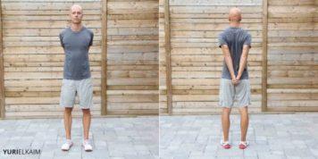 Demo of shoulder and upper back stretch