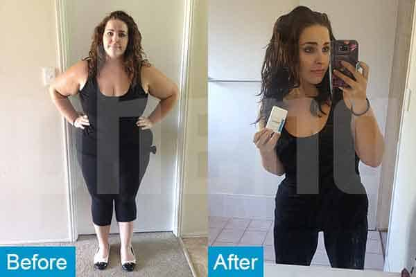 Before and after photo of weight loss success using PhenQ