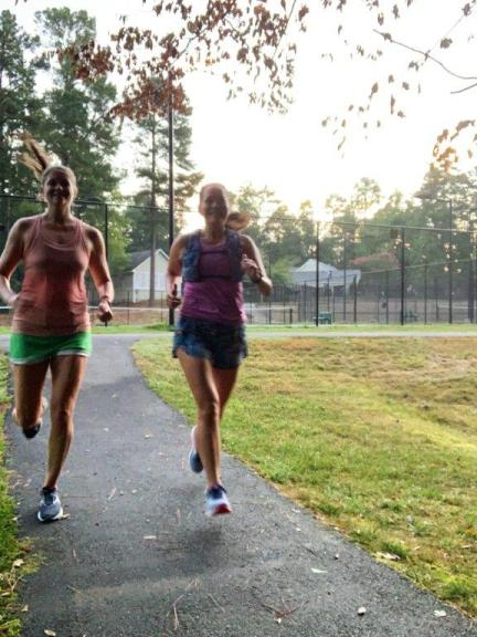 Last training run for Rock N Roll Chicago half. Running through neighborhood trail with a friend.