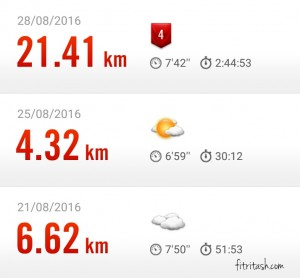 Dua latihan lari seminggu terakhir sampai akhirnya race half marathon MBM 2016.