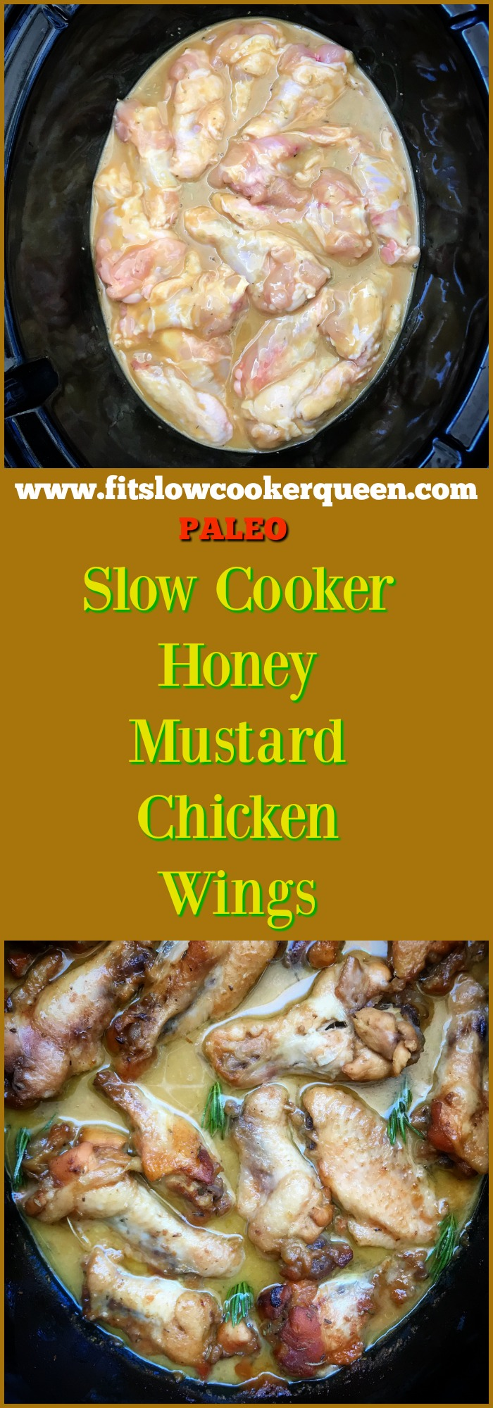A homemade, paleo, honey mustard sauce slow cooks with chicken wings in this slow cooker recipe that's the perfect appetizer or game-day snack.