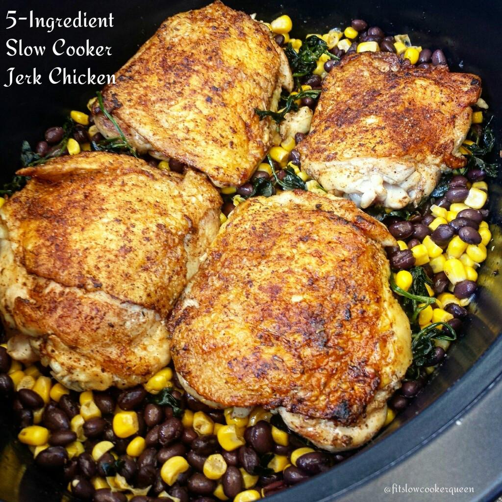 5-Ingredient Slow Cooker Jerk Chicken - Fit SlowCooker Queen