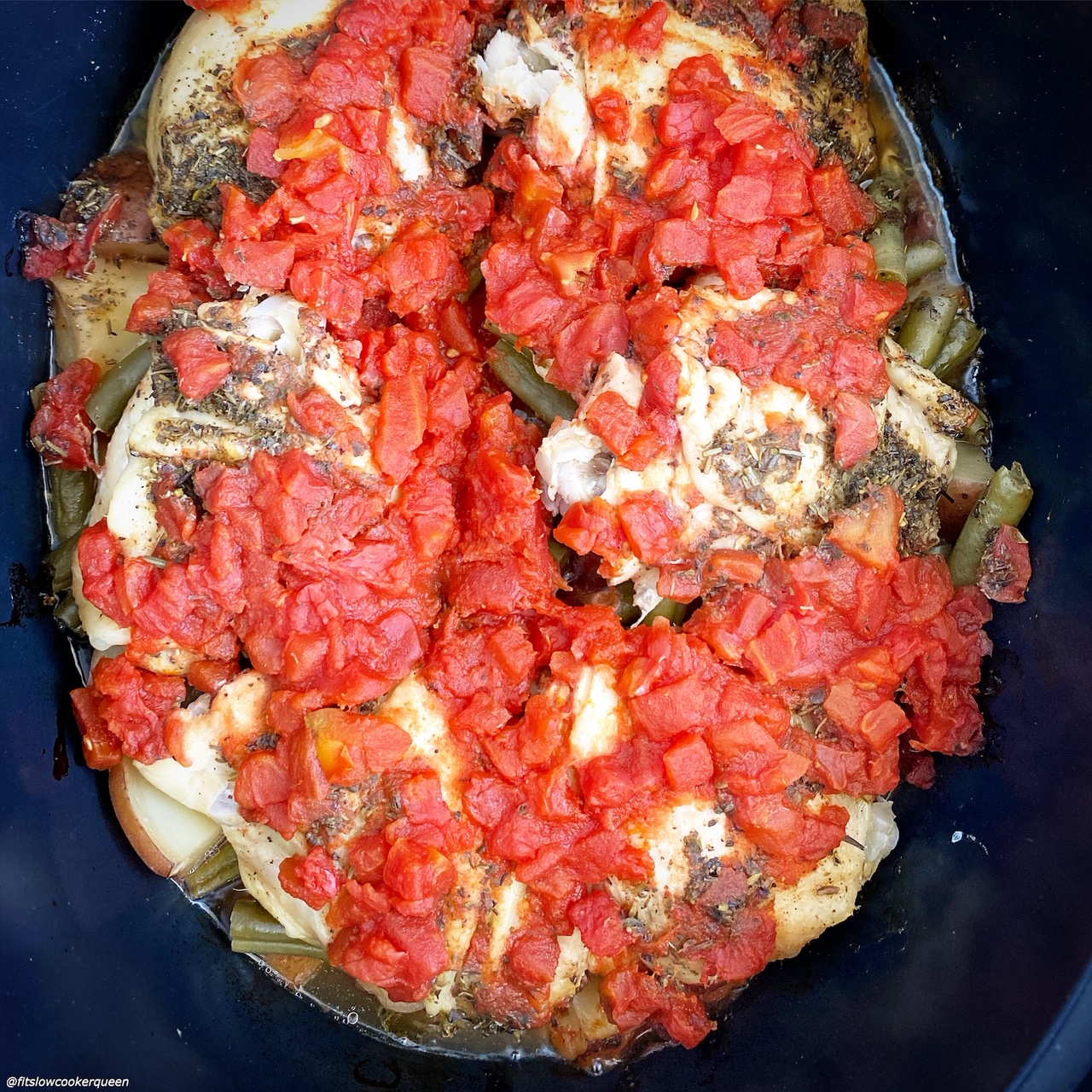 after pic of cooked 5-Ingredient Slow CookerInstant Pot Italian Chicken (Paleo, Whole30) in the slow cooker