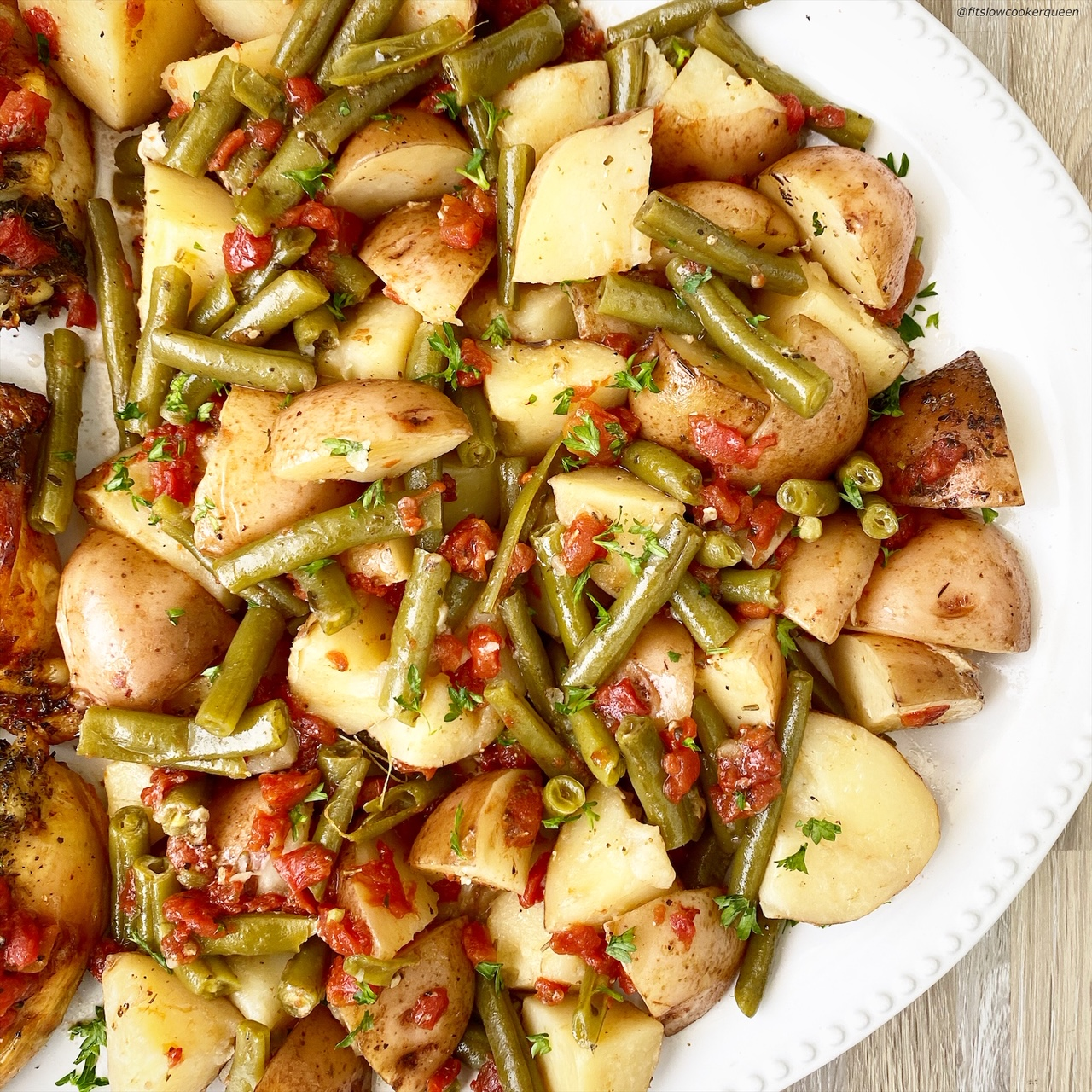 close up pic of cooked potatoes & green beans