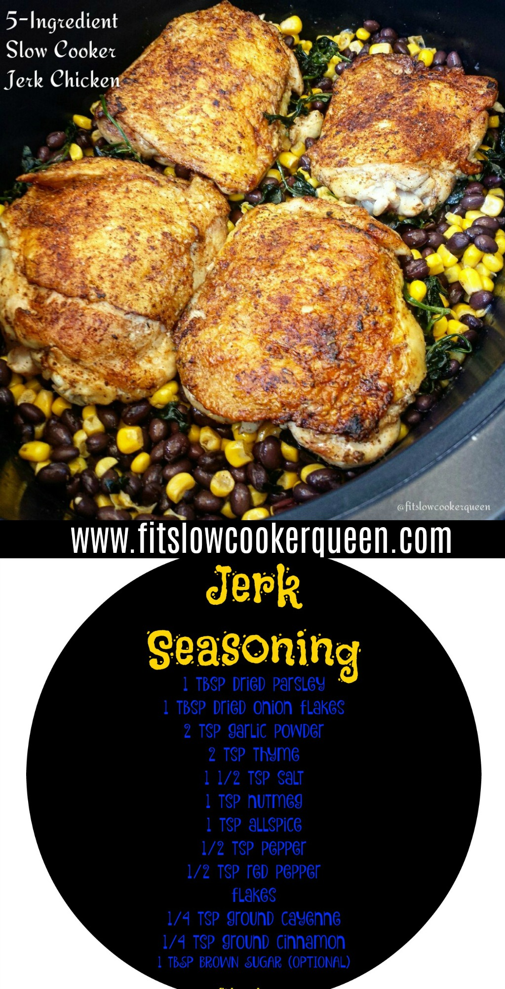 Only 5 ingredients! Grab your f& favorite jerk seasoning or use my homemade one for this quick, easy & healthy slow cooker recipe.